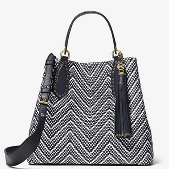 Michael Kors Handbags - Michael Kors Brooklyn Large Woven Leather Satchel
